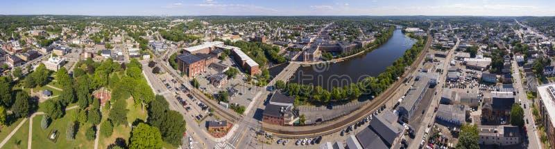 Vue aérienne de la rivière Charles, Waltham, Massachusetts, États-Unis photographie stock libre de droits