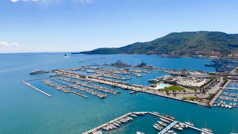 Vue aérienne de La Spezia, Italie image stock