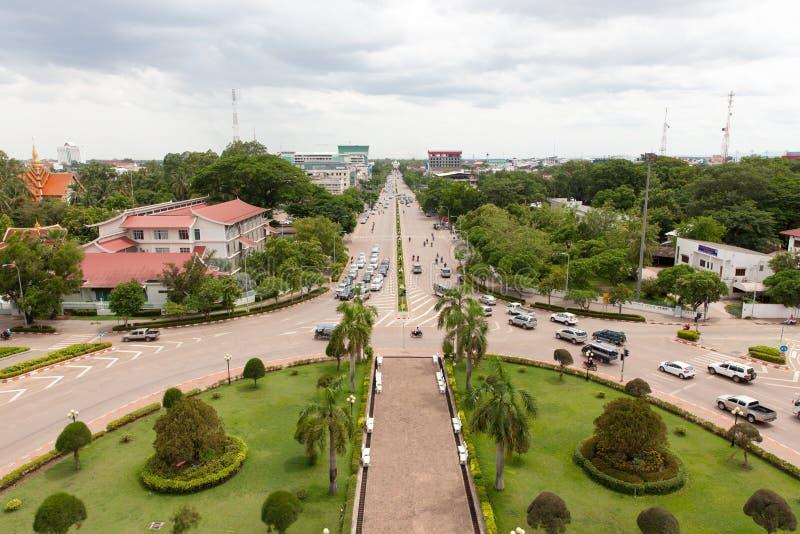 Vue aérienne de la ville de Vientiane, Laos photographie stock libre de droits