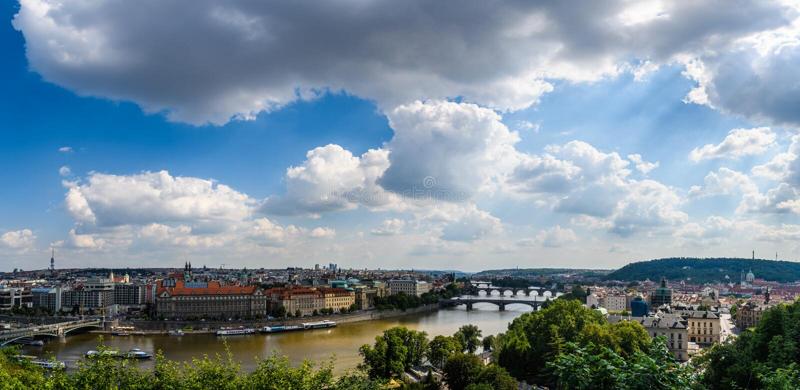 Vue aérienne de la ville du jardin de Letna, Prague, Tchèque Republi image libre de droits