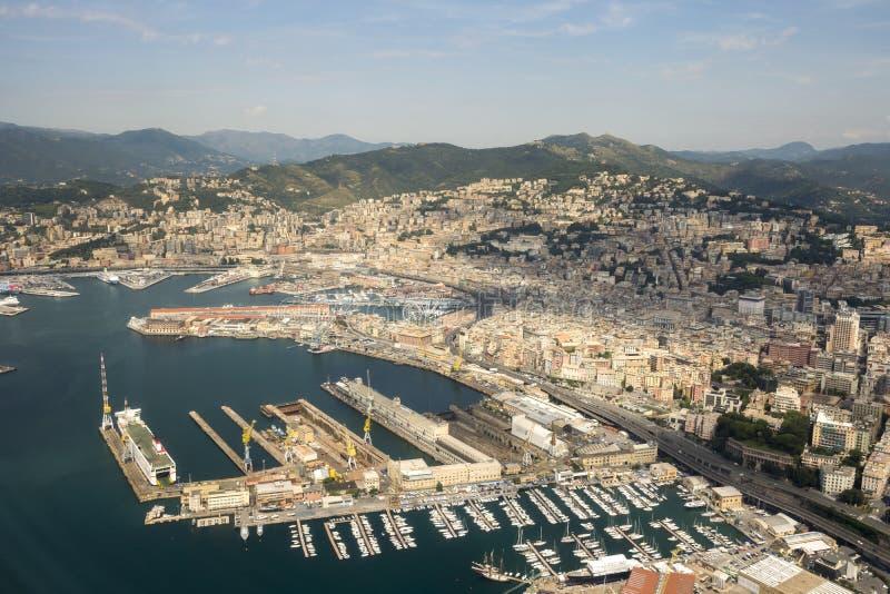 Vue aérienne de la ville de Gênes image stock