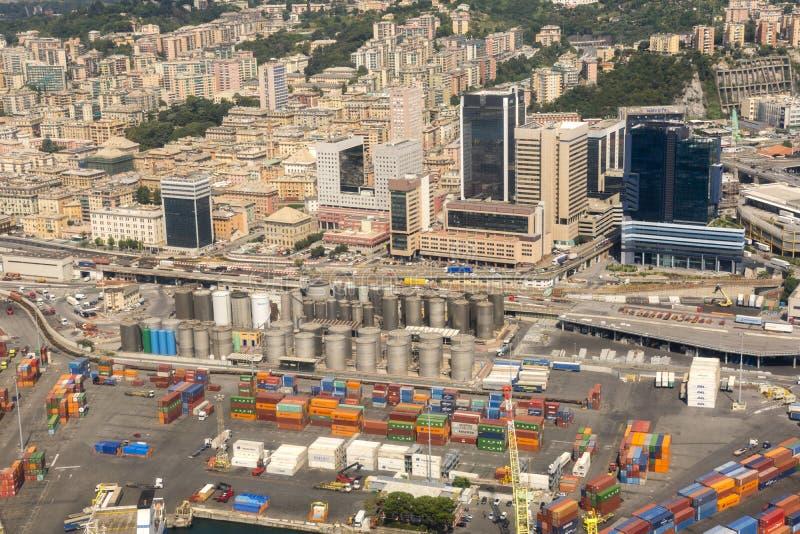 Vue aérienne de la ville de Gênes photographie stock libre de droits