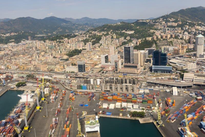 Vue aérienne de la ville de Gênes images stock