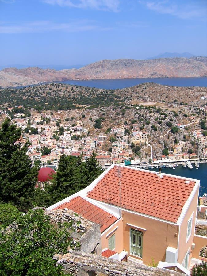 Vue aérienne de la ville grecque image libre de droits