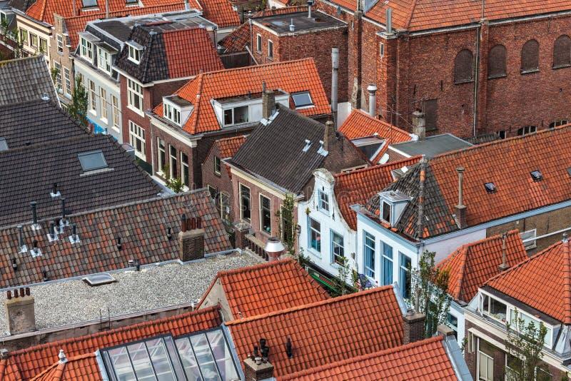 Vue aérienne de la ville historique hollandaise Delft photographie stock libre de droits