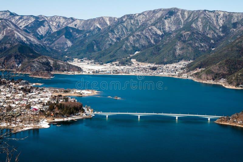Vue aérienne de lac Kawaguchiko images libres de droits