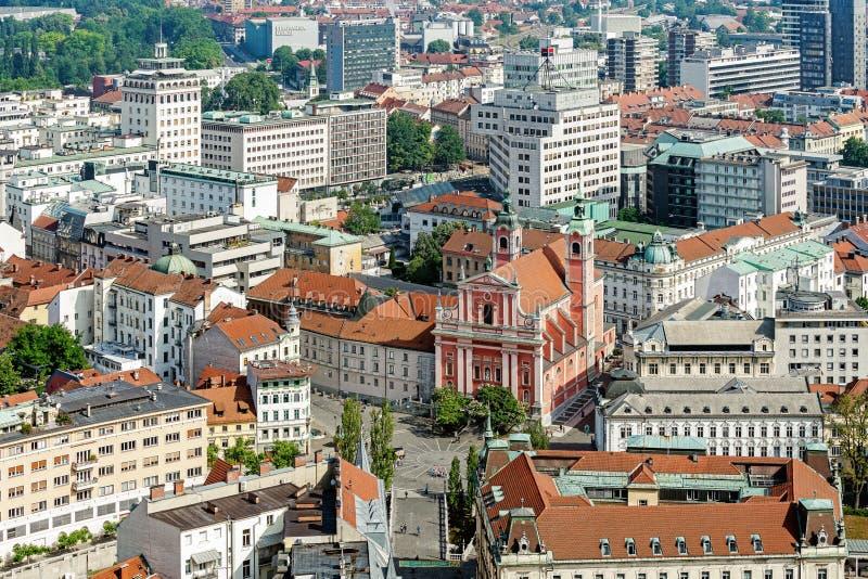 Vue aérienne de Ljubliana images stock