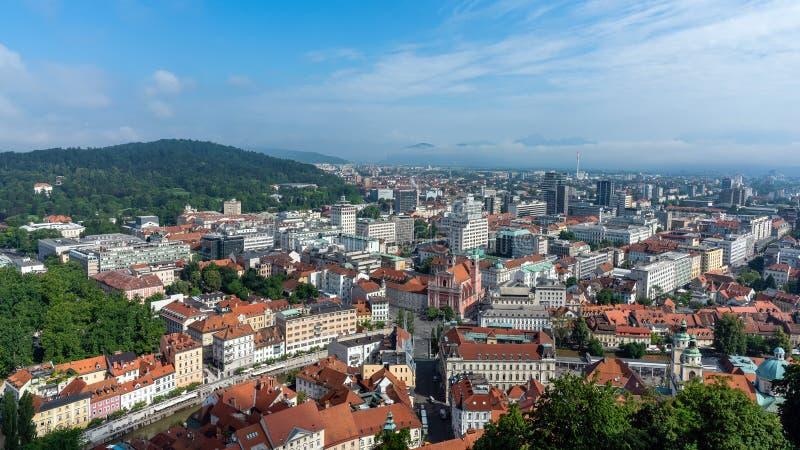 Vue aérienne de Ljubliana photographie stock libre de droits