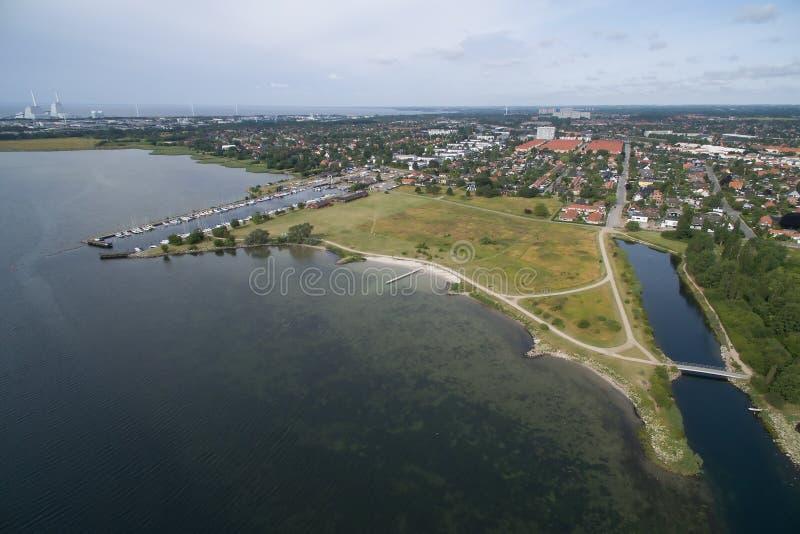 Vue aérienne de Lodsparken, Danemark images stock
