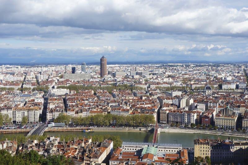 Vue aérienne de Lyon de colline de Fourviere photos stock