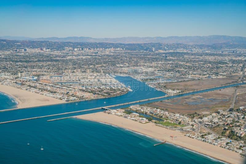 Vue aérienne de Marina Del Rey et de Playa Del Rey photo libre de droits