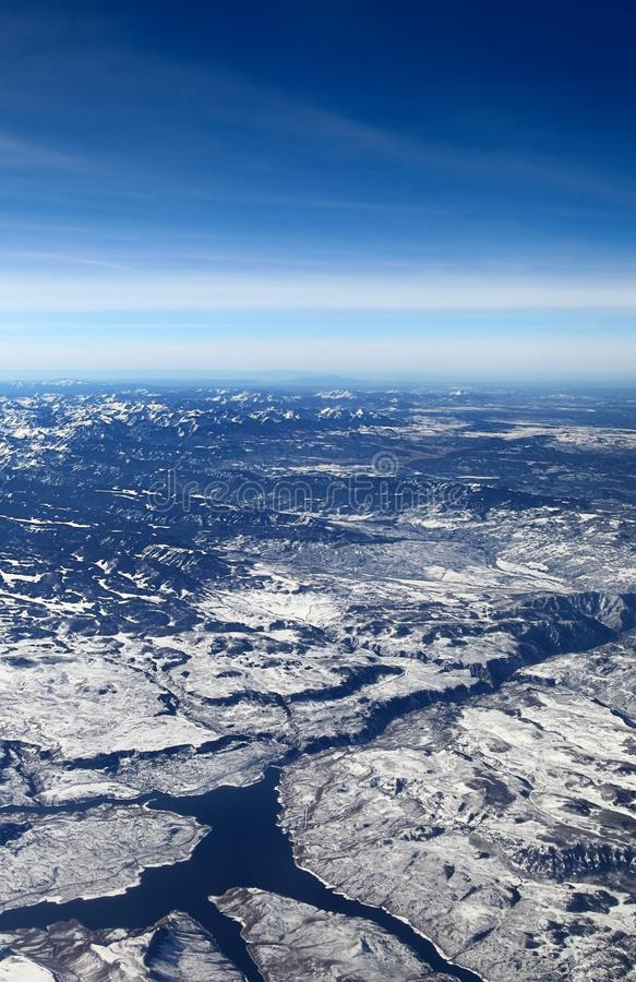 Vue aérienne de Mesa Dam et de réservoir bleus, le Colorado photos libres de droits