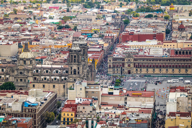 Vue aérienne de Mexico Zocalo et cathédrale - Mexico, Mexique photos stock