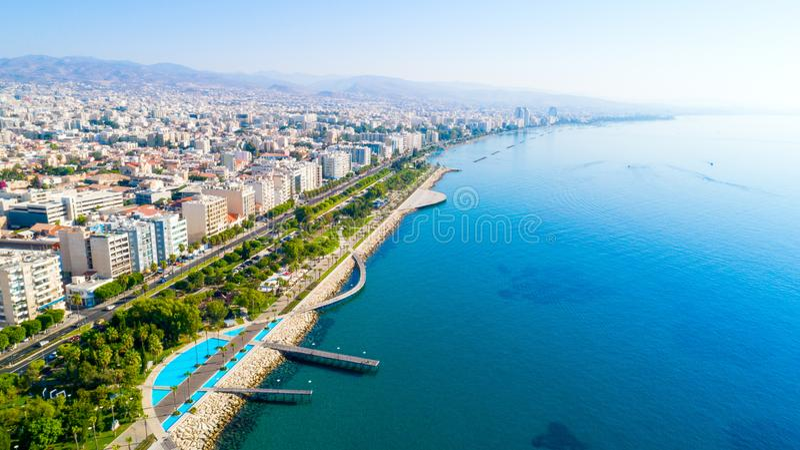 Vue aérienne de Molos, Limassol, Chypre photo libre de droits