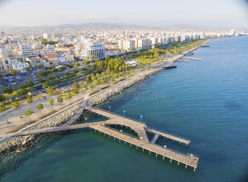 Vue aérienne de Molos, Limassol, Chypre images stock