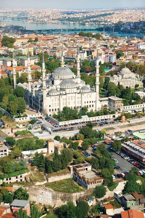 Vue aérienne de mosquée bleue Istanbul Turquie photographie stock libre de droits