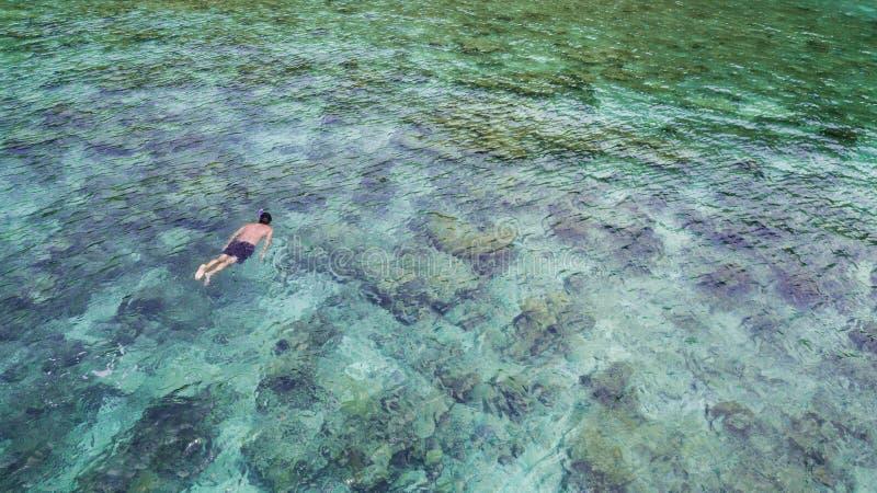Vue aérienne de naviguer au schnorchel de touristes caucasien en eau en cristal de turquoise et récifs coraliens près d'île de Pe photographie stock libre de droits