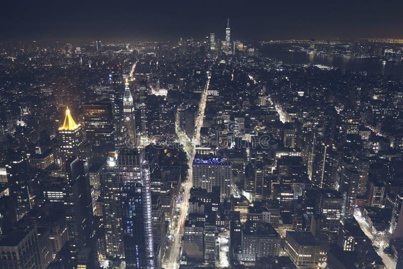 Vue aérienne de New York City la nuit, Etats-Unis photos stock