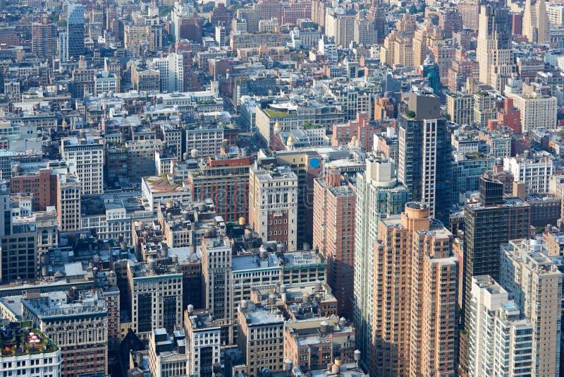 Vue aérienne de New York City Manhattan, fond de gratte-ciel images libres de droits