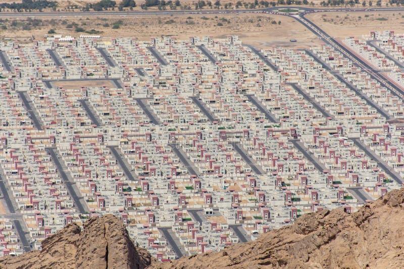 Vue aérienne de nouvel ensemble immobilier privé en Al Ain, Abu Dhabi, Emirats Arabes Unis images stock