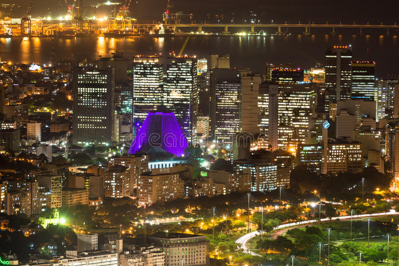 Vue aérienne de nuit de Centro, de Lapa et de ?athedral. Rio de Janeiro images stock