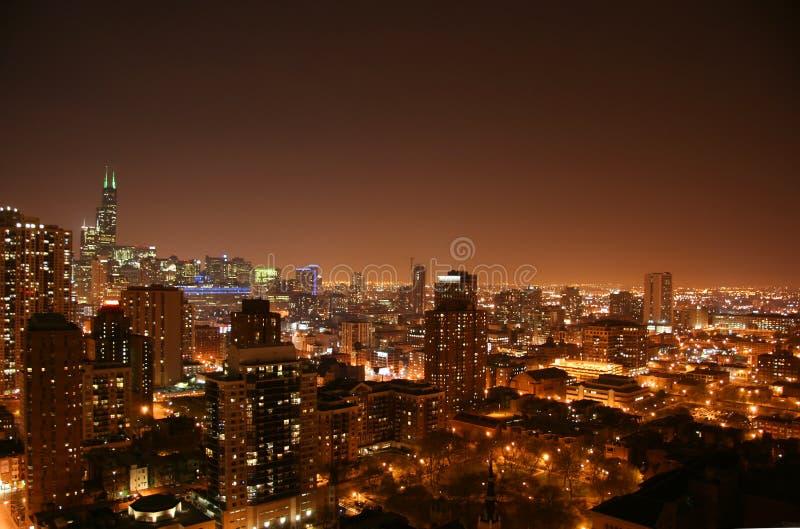 Vue aérienne de nuit de Chicago photo libre de droits