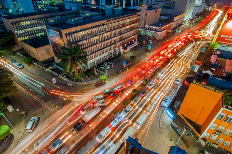 Vue aérienne de nuit de Kampala Road, Kampala, Ouganda photographie stock libre de droits