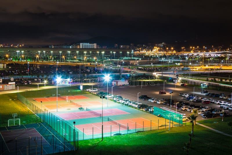 Vue aérienne de nuit de quartier de la ville d'Adlersky, Sotchi, Russie photo libre de droits
