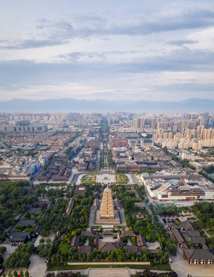 Vue aérienne de pagoda sauvage d'oie de xian images libres de droits