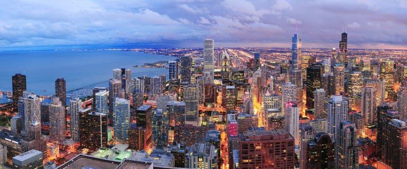 Vue aérienne de panorama d'horizon de Chicago image stock