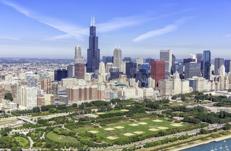 Vue aérienne de panorama d'horizon de Chicago image libre de droits