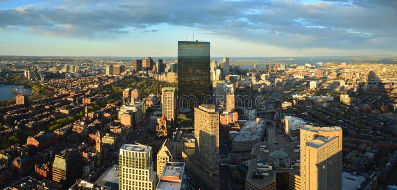 Vue aérienne de panorama de Boston images libres de droits