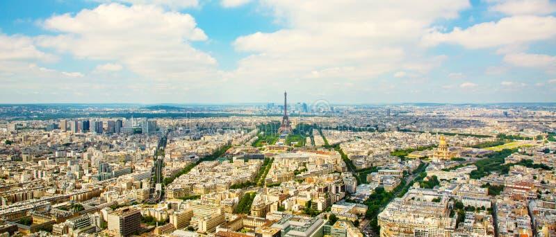 Vue aérienne de panorama sur Tour Eiffel à Paris photo libre de droits