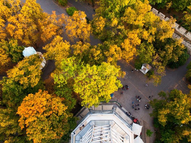 Vue aérienne de parc sous la tour de Petrin à Prague photos libres de droits