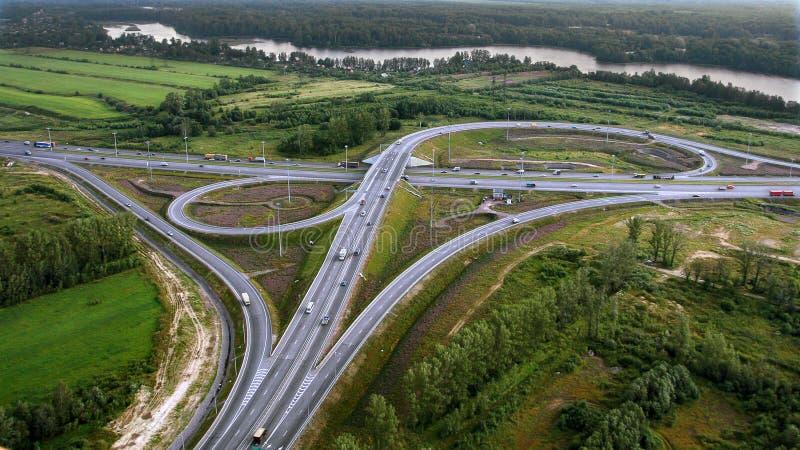 Vue aérienne de passage supérieur, Ringway, photo aérienne images libres de droits