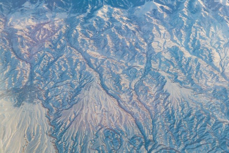 Vue aérienne de paysage dans la partie nord du Xinjiang de la Chine dans W photo libre de droits