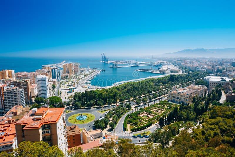 Vue aérienne de paysage urbain de Malaga, Espagne photographie stock