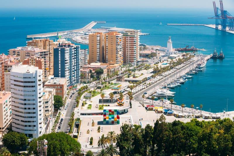 Vue aérienne de paysage urbain de panorama de Malaga, Espagne photographie stock