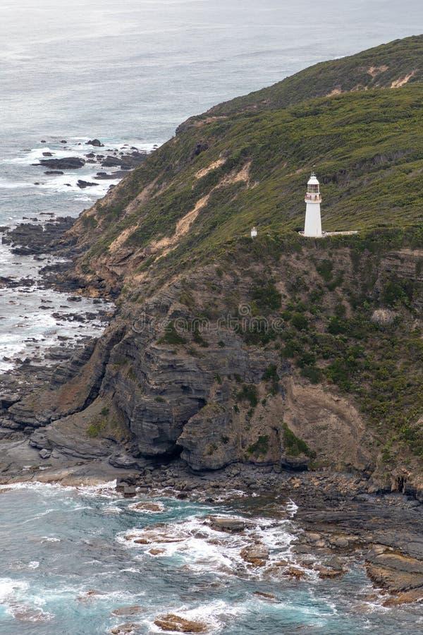 Vue aérienne de phare d'Otway de cap, Victoria, Australie photographie stock