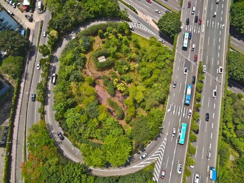 Vue aérienne de photographie aérienne de LAN de route de pont de viaduc de ville photographie stock