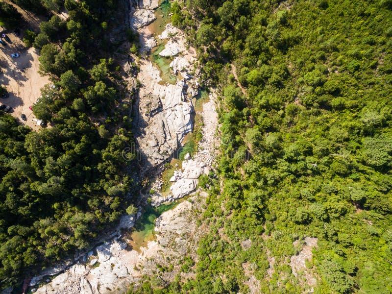 Vue aérienne de piscine naturelle de Cavu près de Tagliu Rossu et de Sainte L images libres de droits