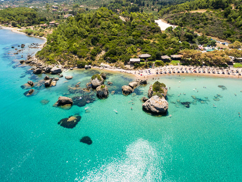 Vue aérienne de plage de Porto Zorro Azzurro dans Zakynthos Zante photographie stock