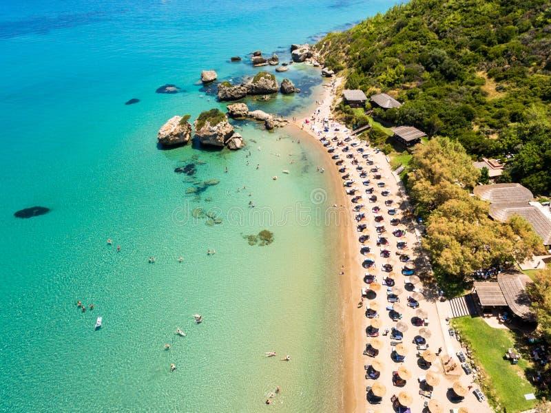 Vue aérienne de plage de Porto Zorro Azzurro dans Zakynthos Zante images stock