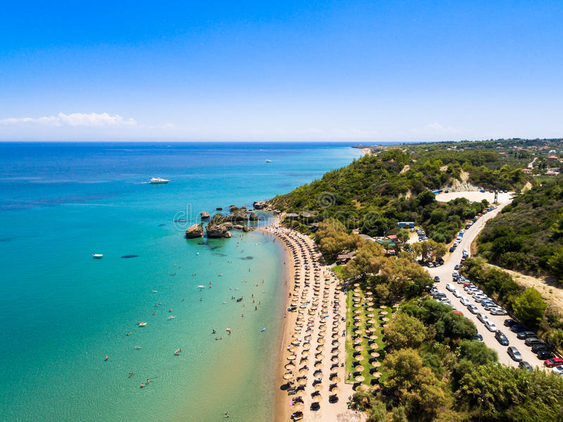 Vue aérienne de plage de Porto Zorro Azzurro dans Zakynthos Zante image stock