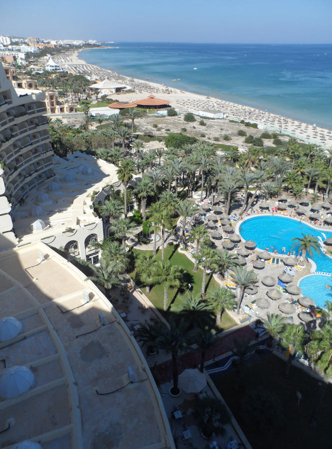 Vue aérienne de plage et d'hôtels de Sousse photos libres de droits