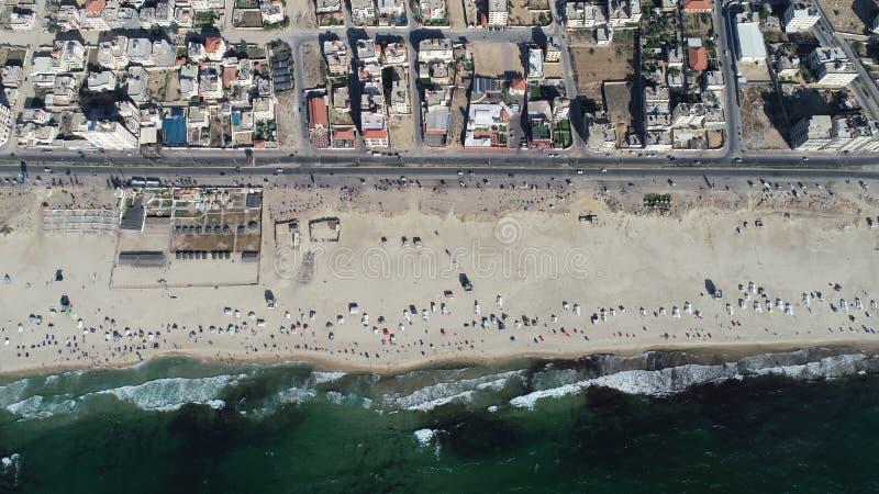 Vue aérienne de plage de Gaza image stock