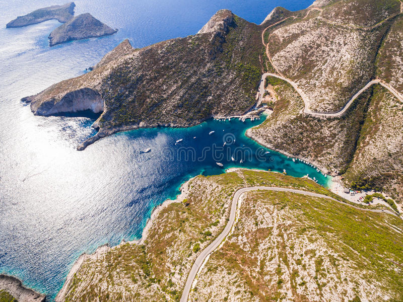 Vue aérienne de plage de Porto Vromi en île de Zakynthos Zante, I photo libre de droits