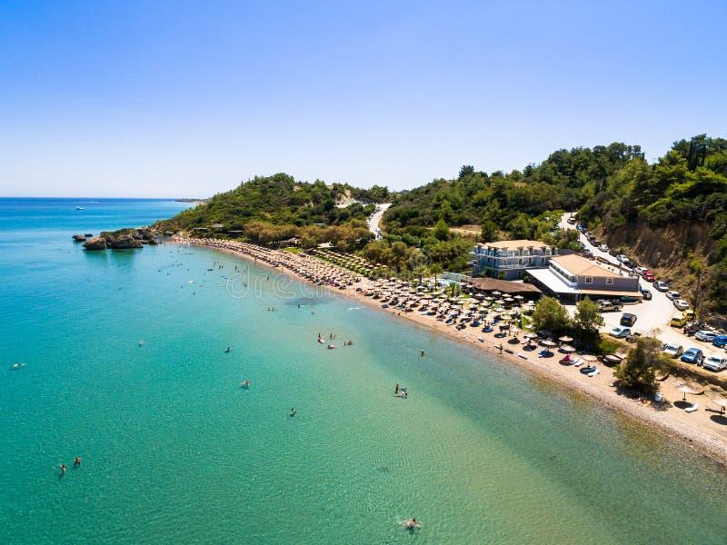 Vue aérienne de plage de Porto Zorro Azzurro dans Zakynthos Zante image libre de droits