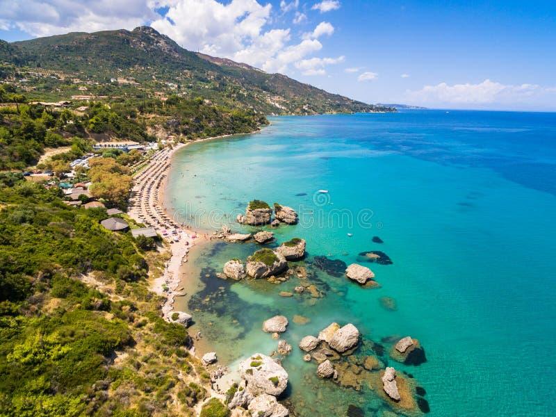 Vue aérienne de plage de Porto Zorro Azzurro dans Zakynthos Zante photo stock