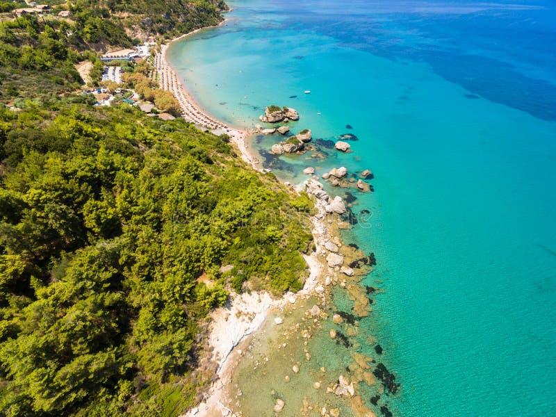 Vue aérienne de plage de Porto Zorro Azzurro dans Zakynthos Zante photos libres de droits